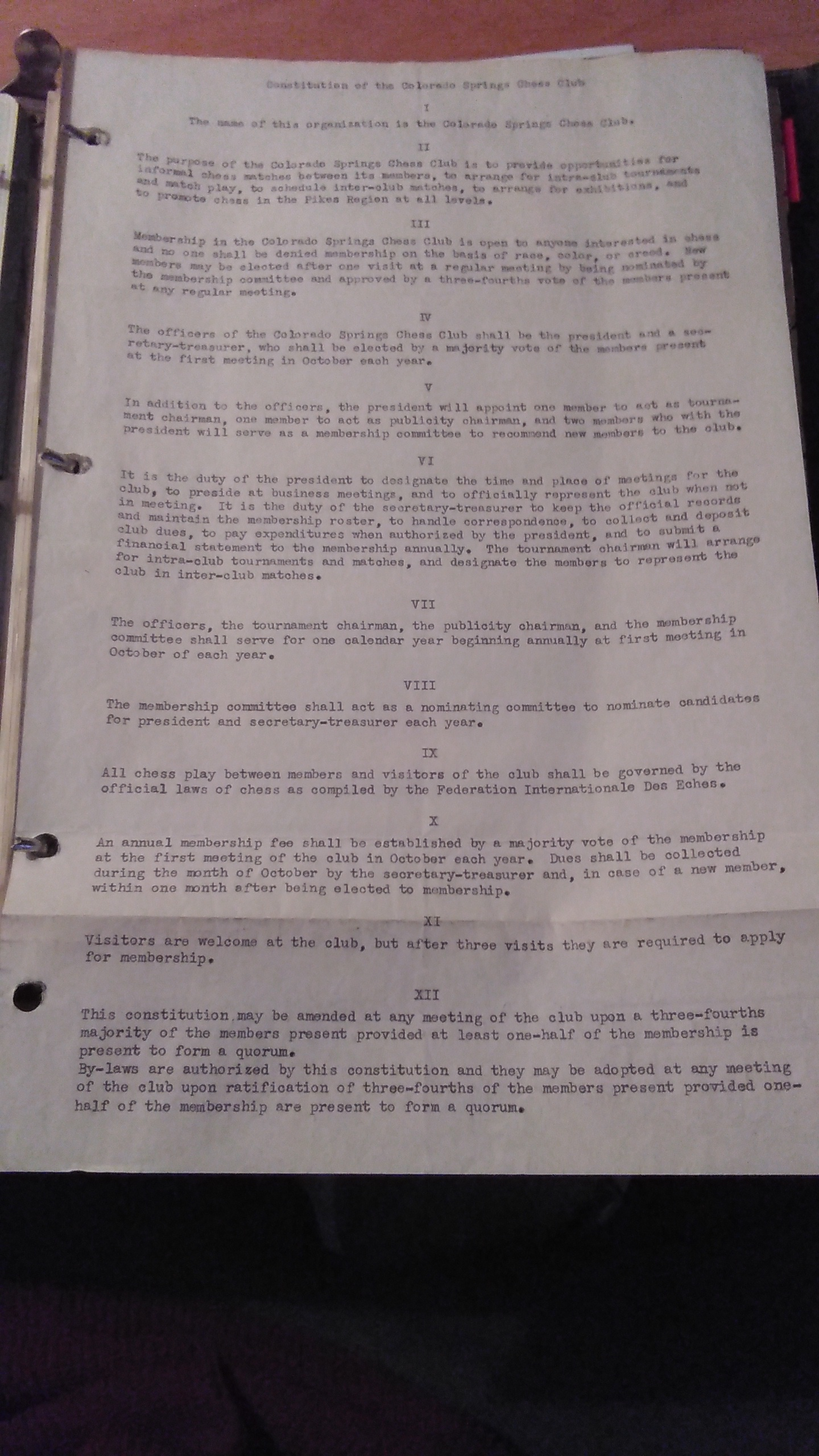 Old Constitution Of The Colorado Springs Chess Club